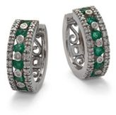 Effy Gemma Emerald, Diamond & 14K White Gold Hoop Earrings