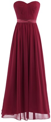 Yeahdor Women's Strapless Ruched Bust Chiffon Long Bridesmaid Evening Party Dress Prom Gown Burgundy 14