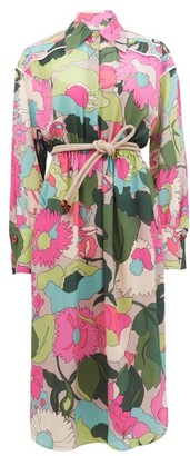 Fendi Windflower Floral-print Crinckled Silk Shirt Dress - Pink Print