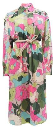 Fendi Windflower Floral-print Crinckled Silk Shirt Dress - Womens - Pink Print