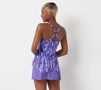 Denim & Co. Beach Handkerchief Hem Tankini Swimsuit