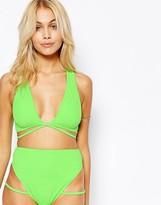 Asos Lattice Strap Plunge Crop Bikini Top
