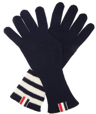 Thom Browne Tri-colour Striped-cuff Gloves - Navy
