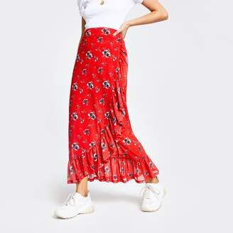River Island Womens Red floral ruffle maxi skirt