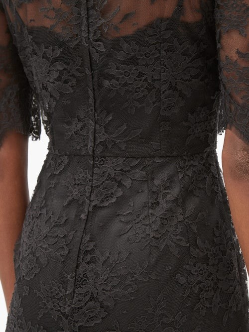 Thumbnail for your product : Dolce & Gabbana Puff-sleeve Cotton-blend Chantilly-lace Gown - Black