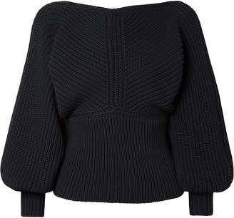 Rosetta Getty Wrap-effect Ribbed-knit Sweater