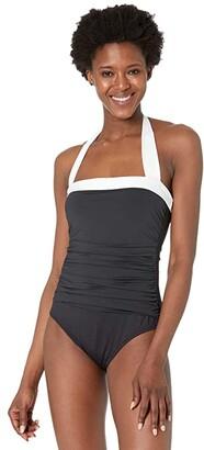 Lauren Ralph Lauren Bel Aire Shirred Bandeau One-Piece (Black) Women's Swimsuits One Piece