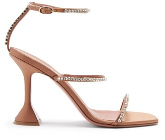Amina Muaddi Gilda Crystal-embellished Satin Sandals - Nude White