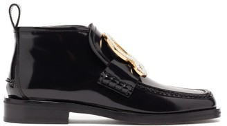 Loewe Anagram-brooch Patent-leather Ankle Boots - Black