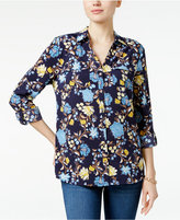 Charter Club Petite Floral-Print Roll-Tab Shirt, Only at Macy's