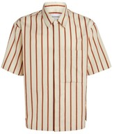 Solid Homme Striped Bowling Shirt