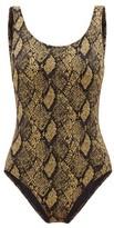 Solid & Striped The Lulu Snake-jacquard Swimsuit - Womens - Black Print