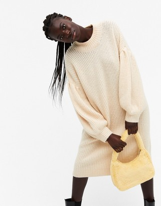 Monki Tina puff sleeve knitted midi dress in beige