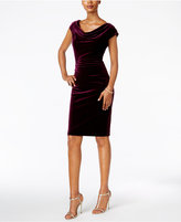 Jessica Howard Petite Cowl-Neck Velvet Dress