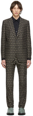 Dries Van Noten Black Wool and Cotton Suit