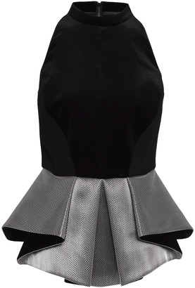 Antonio Berardi Pleated Jacquard-paneled Velvet Peplum Top