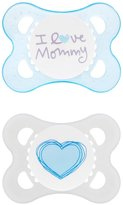 Mam Love and Affection I Love Mommy Silicone Pacifier - Blue - 0 - 6 Months - 2 ct