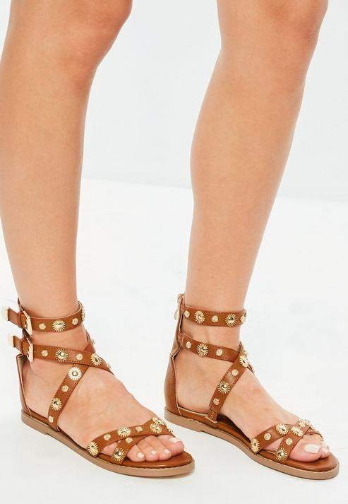 Missguided Camel Studded Gladiator Sandals
