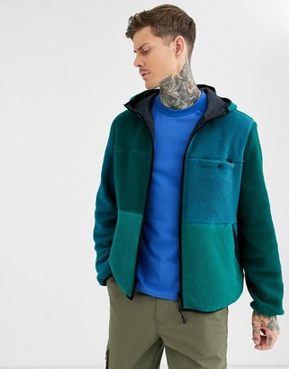 Asos DESIGN jacket with reversible fleece color block