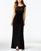 Connected Sequin Lace Faux-Wrap Gown