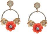 GUESS Floral Motif Door Knocker Earrings (Gold) Earring