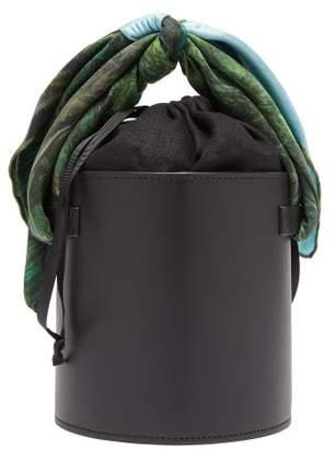 Montunas Isla Leather And Silk-scarf Bucket Bag - Womens - Black
