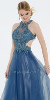 Camille La Vie Metallic Lace Mesh Cutout Ball Gown