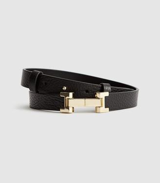Reiss Hayley - Leather Square Hinge Belt in Black