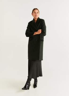 MANGO Structured wool coat khaki - XXS - Women