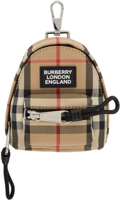 Burberry Beige Vintage Check Backpack Keychain