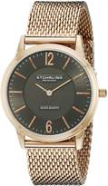 Stuhrling Original Men's 122.334454 Classic Ascot Somerset Elite Swiss Quartz Ultra Slim Rose Tone Mesh Bracelet Watch