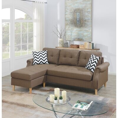 """Thumbnail for your product : Red Barrel Studio Goutier 87"""" Wide Reversible Modular Sofa & Chaise Fabric: Blue Gray Polyester Blend"""