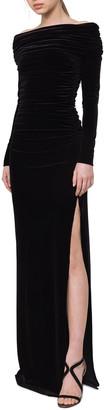 Akris Ruched Off-the-Shoulder Velvet Gown