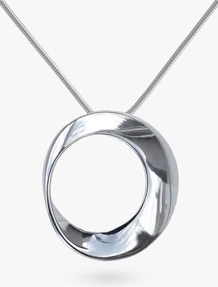 Nina B Open Circle Pendant Necklace, Silver
