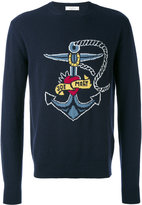 Valentino Printed Crew Neck Wool Sweater