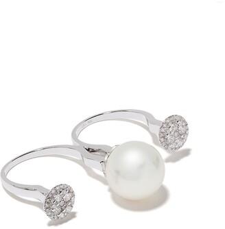 Yoko London 18kt white gold Novus two-finger ring