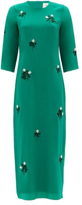 Erdem Evanna Floral Beaded Silk Crepe Midi Dress - Green