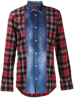 DSQUARED2 Denim Panel Plaid Shirt