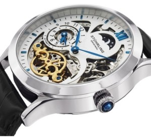 Stuhrling Original Stainless Steel Case on Black Alligator Embossed Genuine Leather Strap, White Skeletonized Dial, With Blue, Gold Tone, and Black Accents