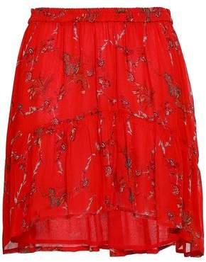IRO Asymmetric Printed Georgette Mini Skirt