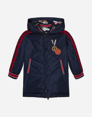 Dolce & Gabbana Long Nylon Jacket With Medal Patch