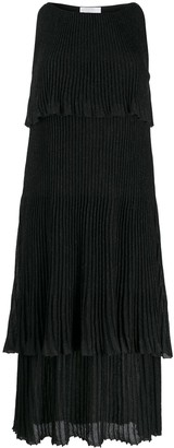 Be Blumarine Tiered Plisse Sleeveless Dress