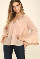 Lush Rolling Pastures Light Peach Long Sleeve Top