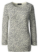 Lands' End Women's Petite Supima 3/4 Sleeve Print Sweater-Royal Floral