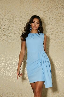 Paper Dolls Shoreditch Alaska Blue Asymmetric Drape Mini Dress