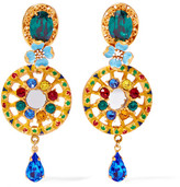 Dolce & Gabbana Gold-plated, Swarovski Crystal And Enamel Clip Earrings - one size