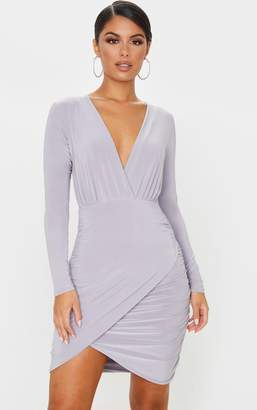 PrettyLittleThing Ice Grey Slinky Plunge Long Sleeve Ruched Bodycon Dress