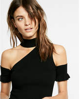 Express Asymmetrical Ruffle Cold Shoulder Cap Sleeve Sweater