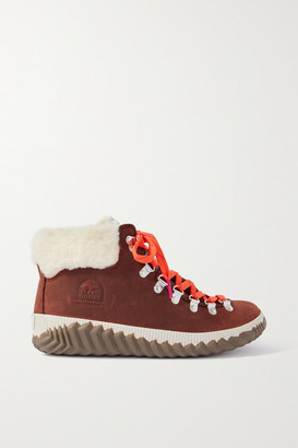 Sorel Out 'n About Plus Conquest Faux Shearling-trimmed Waterproof Suede Ankle Boots - Camel