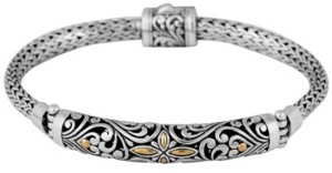 Devata Bali Heritage Classic Sterling Silver Bracelet with Dragon Bone Chain Embellished by 18K Gold